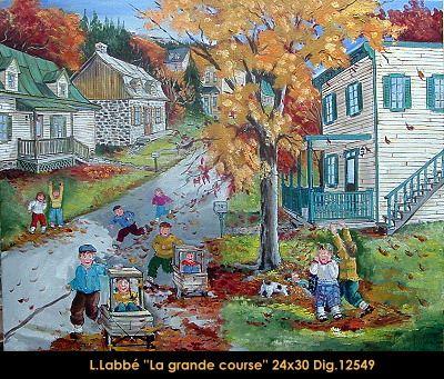 Original oil on canvas painting by Lise Labbé #labbe #art #artnaif #fineart #figurativeart #kidscharacters #fall #race #canadianartist #quebecartist #originalpainting #oilpainting #balcondart #multiartltee