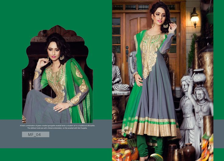 A fresh Combination of green shaded georgette anarkali lends a mordern air to a traditional silhouette.The defined gold zari with chtistel embroldery on the anarkali with Net Dupatta. Product Code: MF_04 Price:$216 Mail: rangrezzfashions@gmail.com   #Fashion #Dress #Designersuites #NiceDesigns #Models #Beauty #colors #dresses #georgette #Red #Blue #goldzari #embroldery