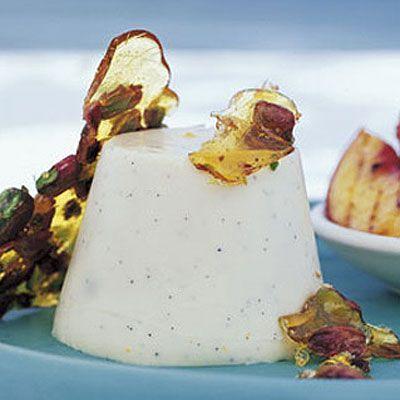 Buttermilk Panna Cotta With Peaches And Pistachio Praline