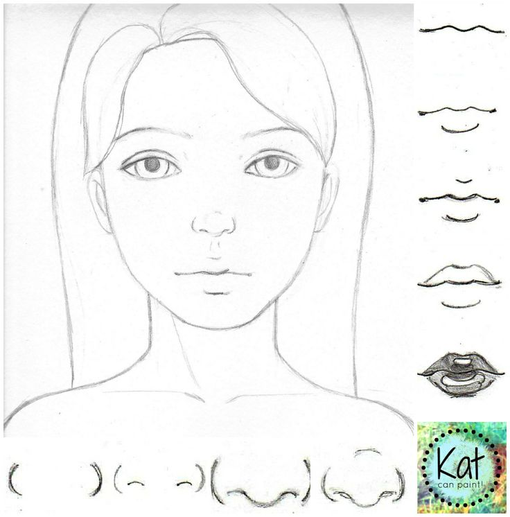 Learn How to Draw Noses! Cute as a button in 4 simple steps - Kat can Paint