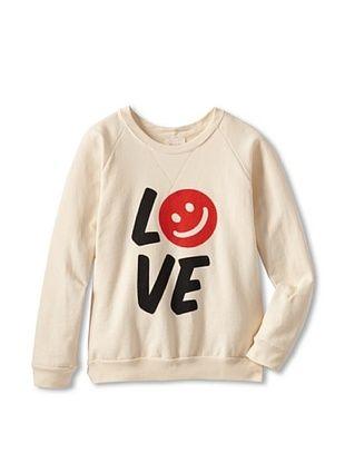 87% OFF Sweet Bazaar Girl's Love Smile Sweatshirt with Trim (Cream)