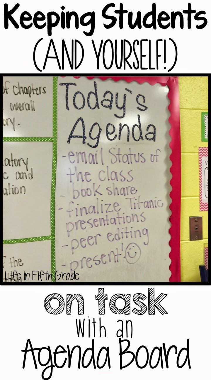 Life in Fifth Grade: Keeping Students on Task- Agenda Board