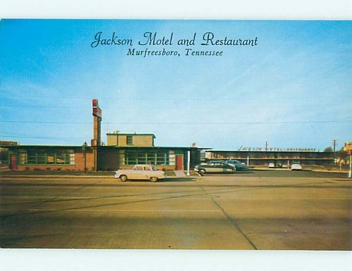 Unused 1950's OLD CARS & JACKSON MOTEL & RESTAURANT Murfreesboro TN u4711