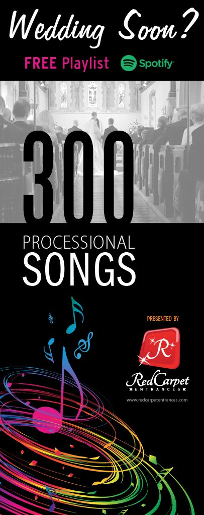 300 Processional songs for walking down the aisle on your wedding day!   Add our FREE Wedding Aisle Songs playlist on Spotify to simplify your effort.   Please share / re-pin! Recently updated to be the most comprehensive playlist available!   Courtesy of Red Carpet Entrances. Build your dream wedding with a red carpet experience! Runners, backdrops, equipment, and more!