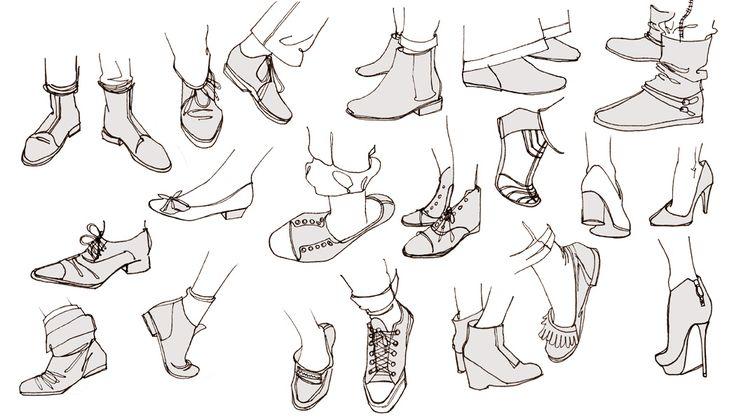 Anna Lubinski - Illustration - Carnets de croquis - Sketchbooks - Ink doodles from life, shoes sketches.