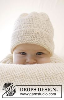 """Peek-a-boo - Knitted DROPS hat in garter st in """"Baby Merino"""". Size premature - 4 years - Free pattern by DROPS Design"""