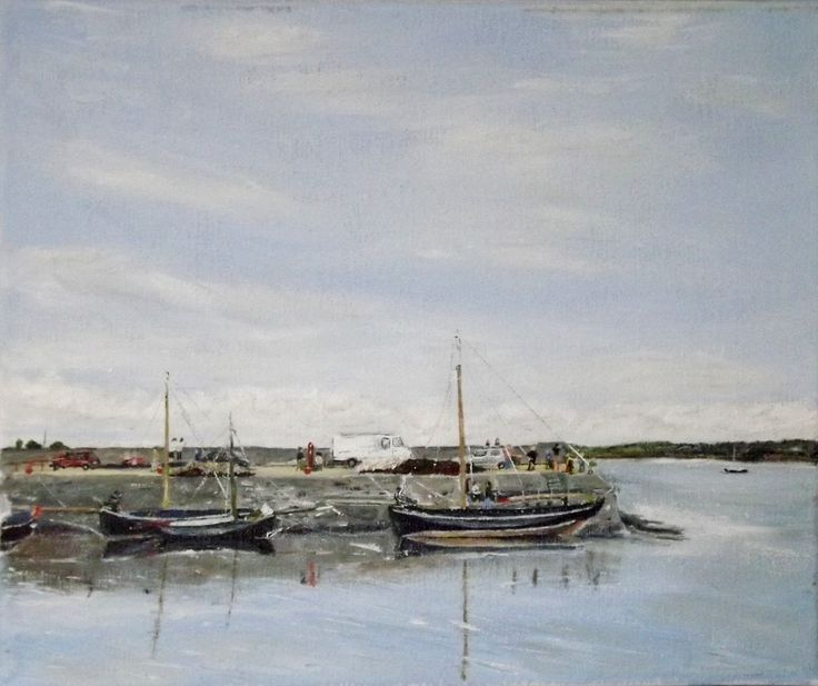 "Kinvara, Cruinniu na mBad Oil on Canvas 10 X 12 Cruinniu na mBad, meaning ""Gathering of the Boats"", is a festival held in August each year, which brings us back in time, to when the majestic Galway Hookers used to transport turf/peat to Kinvara."