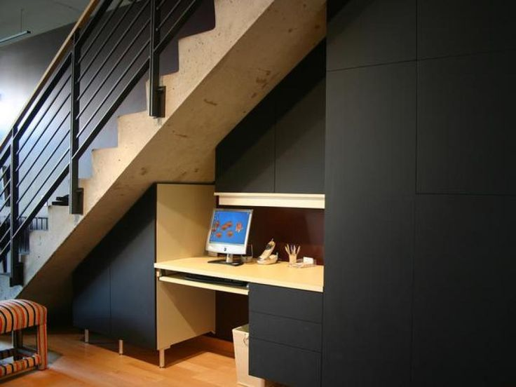 Stylish Options for Staircase Storage These basement stairs also function as an extra computer space. Tip: Due to the nature of basement stairs, it is important to assess the stability of the stairs before adding any storage underneath.