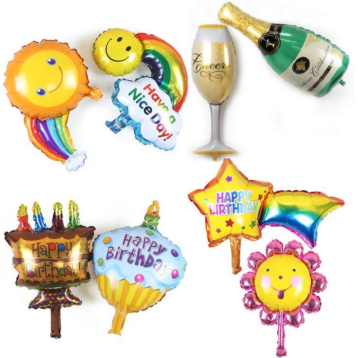 8 Pcs Rainbow Smiley Tiup Foil Balon Selamat Ulang Tahun Champagne Cangkir Botol Air utdoor Balon Pesta Pernikahan Balon