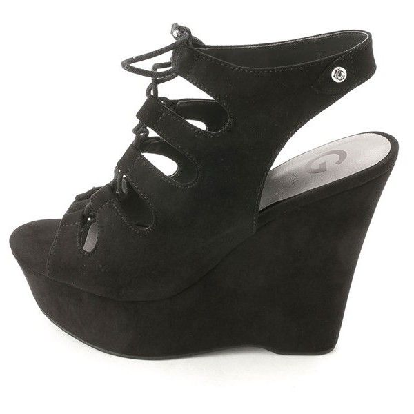 G By Guess G By Guess Women's Hexen 2 Platform Wedge Sandals  ... ($32) ❤ liked on Polyvore featuring shoes, sandals, black, black lace up sandals, gladiator sandal, lace up platform sandals, sexy wedge sandals and black wedge sandals