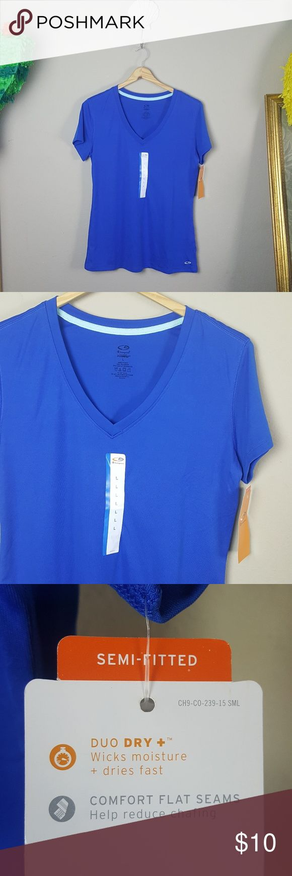 NWT Blue V Neck Champion Duo Dry Wick sz L NWT Blue V Neck Champion Duo Dry.... Wicks moisture and dries faster. Semi-fitted. Comfort flat seams to reduce chafing. 100% polyester. Champion Tops Tees - Short Sleeve