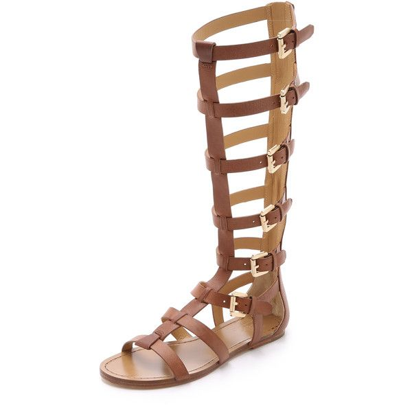 Belle by Sigerson Morrison Bittan Tall Gladiator Sandals (6.860.560 IDR) ❤ liked on Polyvore featuring shoes, sandals, flats, sapatos, cuoio, roman gladiator sandals, gladiator sandals shoes, greek leather sandals, adjustable gladiator sandals and leather gladiator sandals