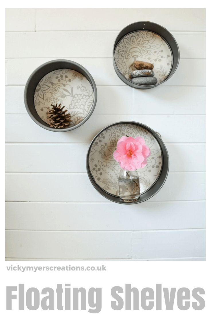 How to Upcycle Cake Tins into Round Floating Shelves - vicky myers creations