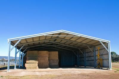 Open Gable End Farm Shed | Perfect for hay and machinery storage.