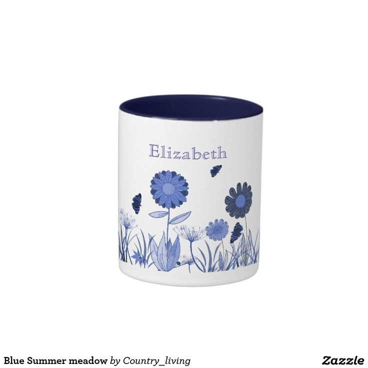 Blue Summer meadow Two-Tone Coffee Mug
