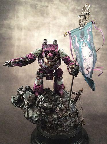 40k - Emperor's Children Contemptor Dreadnought by Nomad-77