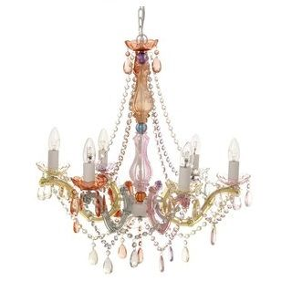 LARGE LIGHT CHANDELIER GYPSY 6 ARMS PASTEL - $239.95 - Stunningly detailed Baroque inspired Gypsy Chandelier guaranteed to make a statement! Made from acrylic crystals with a glass stem, this Gypsy Chandeliers add style and character to any room. #sweetcreations #shoptheblog #bed #bedroom #kids #decor #IS