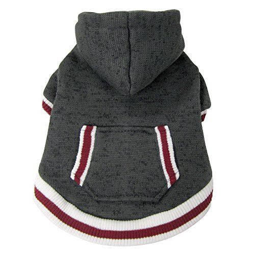 FouFou Dog 62574 Charcoal Heritage Knit Hoodies for Dogs, Medium