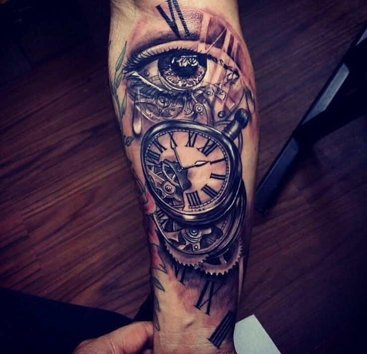 547 best tattoos images on pinterest tattoo designs for Eye with clock tattoo
