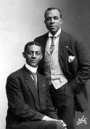 "Bob Cole, left, with J. Rosamond Johnson. Robert Allen ""Bob"" Cole (July 1, 1868 – August 2, 1911) was an American composer, actor, playwright, and stage producer and director. In collaboration with Billy Johnson, he wrote and produced A Trip to Coontown (1898), the first musical entirely created and owned by black showmen. The popular song La Hoola Boola (1898) was also a result of their collaboration. Cole later partnered with brothers J. Rosamond Johnson, pianist and singer, and James Weldon..: Bobs Cole, American History, Beautiful History, Africans American, Cole Compos, American Songwriting, Black History, Rosamond Johnson, Music History"