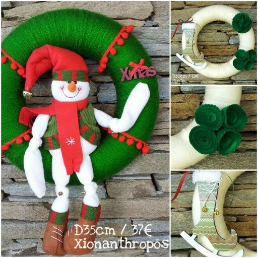 Xmas wreaths snowman!!! D 35