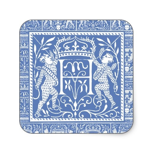 Medieval Monogram H From Antique Print.  Elegant Blue and White.