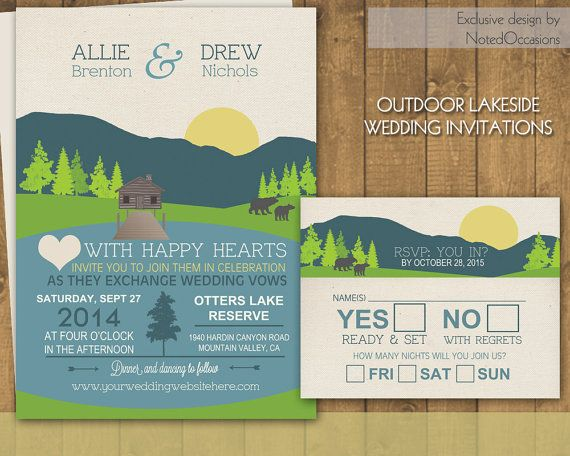 Mountain Wedding Invitations Suite - Campground Camping Outdoor Wedding | Great for Camping Events, Scenic Casual Wedding Celebrations