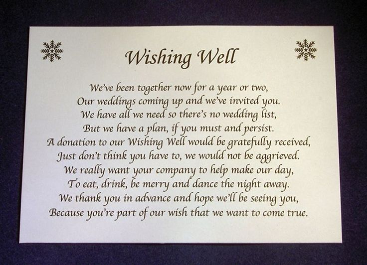 Details About Personalise Small Wedding Wishing Well Poem