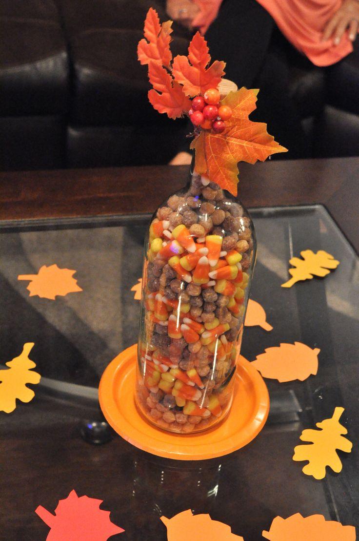 Fall theme candy corn bottle centerpiece diy wedding