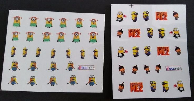 Despicable Me Nail sticker DIY decal 2 sheets fingernail Minions movie character #Unbranded