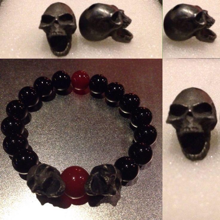 Black Onyx & Red Agate skull bracelet