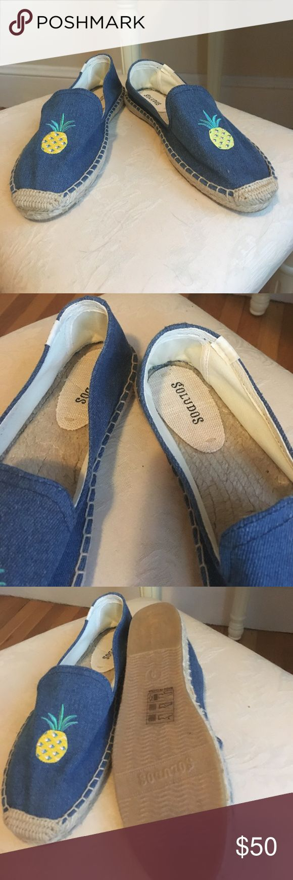 BRAND NEW Soludos espadrilles Pineapple and chambray design. Never been worn. No low offers Soludos Shoes Espadrilles