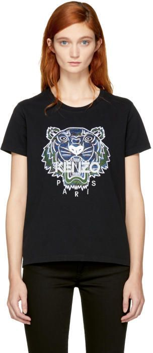 Kenzo Black Northern Lights Tiger T-Shirt