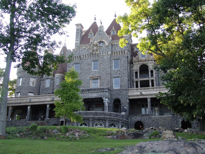Boldt Castle in the Thousand Islands, NY. George Boldt was spending a lot of summers with this wife Louise in a cottage on Heart Island when in 1900 he decided to build a huge mansion for them. The building began, but was stopped in 1904 after the death of Boldt's wife. Silence covered the island for over 70 years. In 1977 the Thousand Islands Bridge Authority acquired Heart Island for one dollar (!) with the agreement that all the revenue from tourism would be spent on the castle…