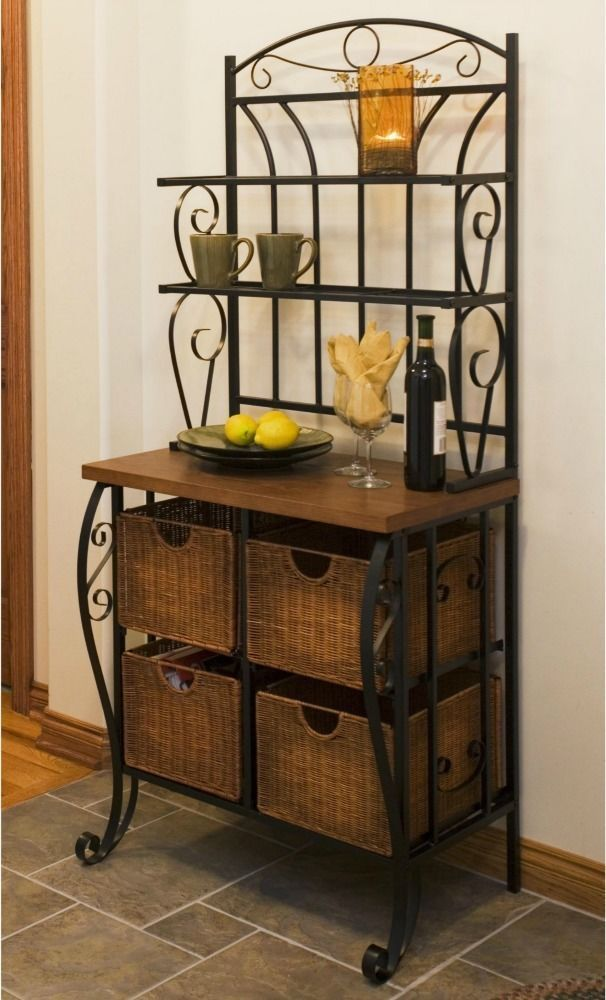 Iron Bakers Rack Kitchen Storage Baskets Wood Shelves Microwave Stand Pantry NEW #SEI