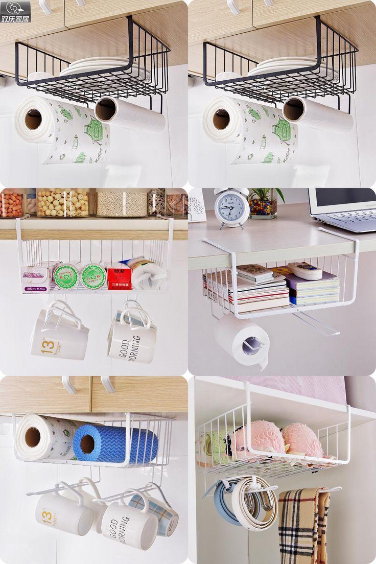 [Visit to Buy] refrigerator rack  suction cup hook shelf multifunction space organizer kitchen hook holder condiment bottles storage rack #Advertisement