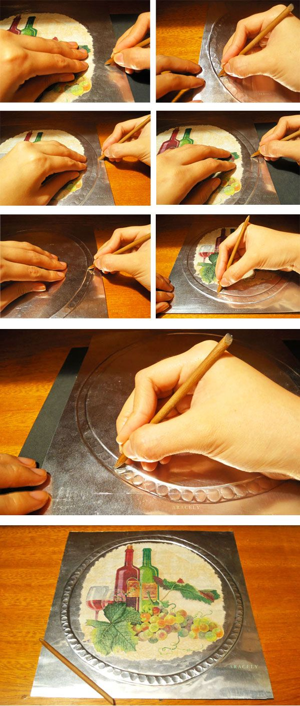 repujado aluminio decoupage servilleta volumen