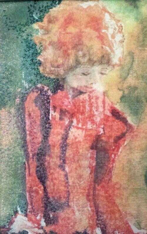 Work by Gretchen Howard. Photo copied original painting onto silk. Hand stitching