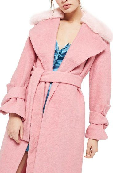 faux fur collar belted wool blend coat by Topshop. Cinch everything in with this wool-blend wrap-coat styled with belts around the wrists and waist for a cozy cold-weather look that's never frumpy. A plush faux fur collar adds an extra dose of elegance. Style Name: Topshop Faux Fur Colla... #topshop #coats #outerwear
