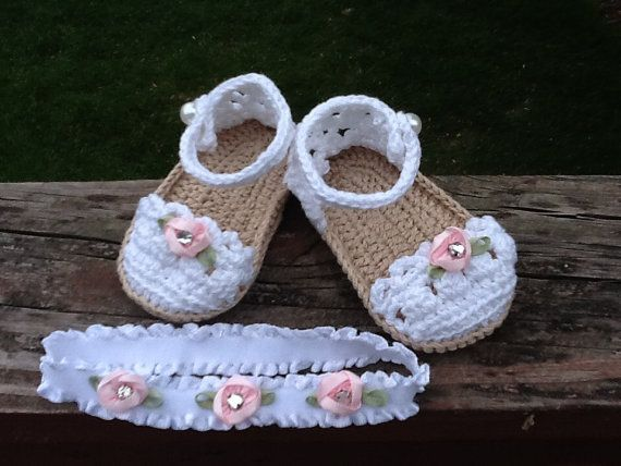 Crochet Shoes and Headband Set by JustFunFashions on Etsy