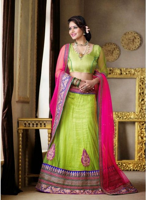 Adorable Lime Green color Net Based #Lehenga Choli