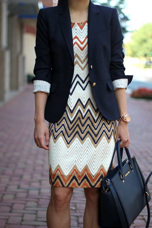 Zigzag pattern dress with a fitted jacket. Polished and sophisticated. Women's fashion and style.