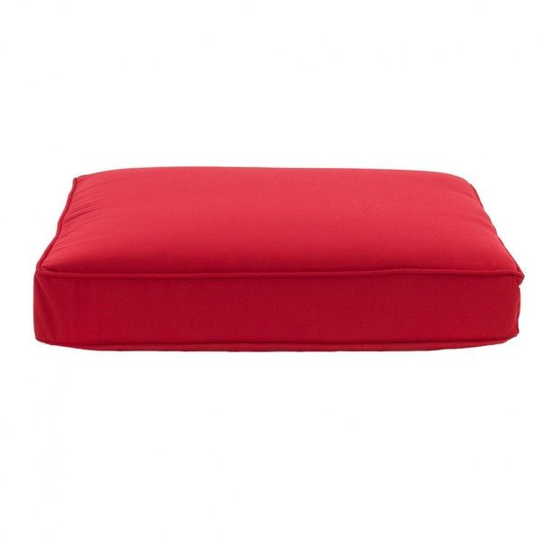 Sunbrella Canvas Jockey Red Large Outdoor Replacement Ottoman Cushion... ($85) ❤ liked on Polyvore featuring home, outdoors, patio furniture, outside patio furniture, all weather outdoor patio furniture, red outdoor furniture, all weather outdoor furniture and all weather patio furniture