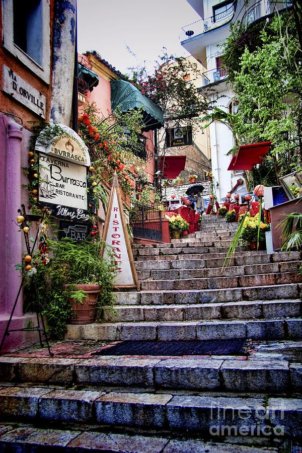Taromina Steps in Sicily a fine art print from our Sicilian towns and villages gallery #taormina