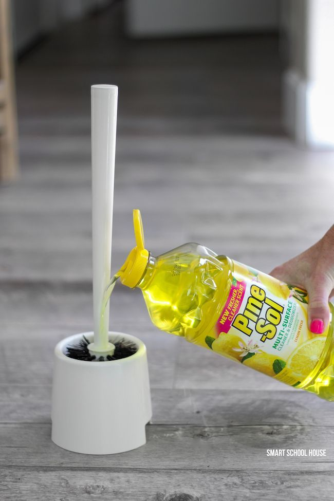 Use Pine Sol Lemon in the bottom of your toilet brush holder.