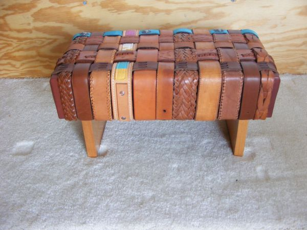 recover stool with old belts recycled creations