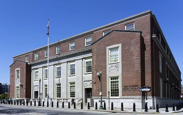 John O. Pastore Federal Building and U.S. Post Office, Providence, RI. The post office annex, as it was first called, was built in 1940. The three-story Pastore Federal Building is an example of Stripped Classical architectural style, with Art Deco elements. Photo by Carol M. Highsmith.