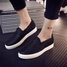 2015 Mulheres Da Moda Sapatos Baixos Casuais das Mulheres Primavera Outono de Lona Lantejoulas Sapatos para As Mulheres Mocassins alpargatas sapatos Femininos