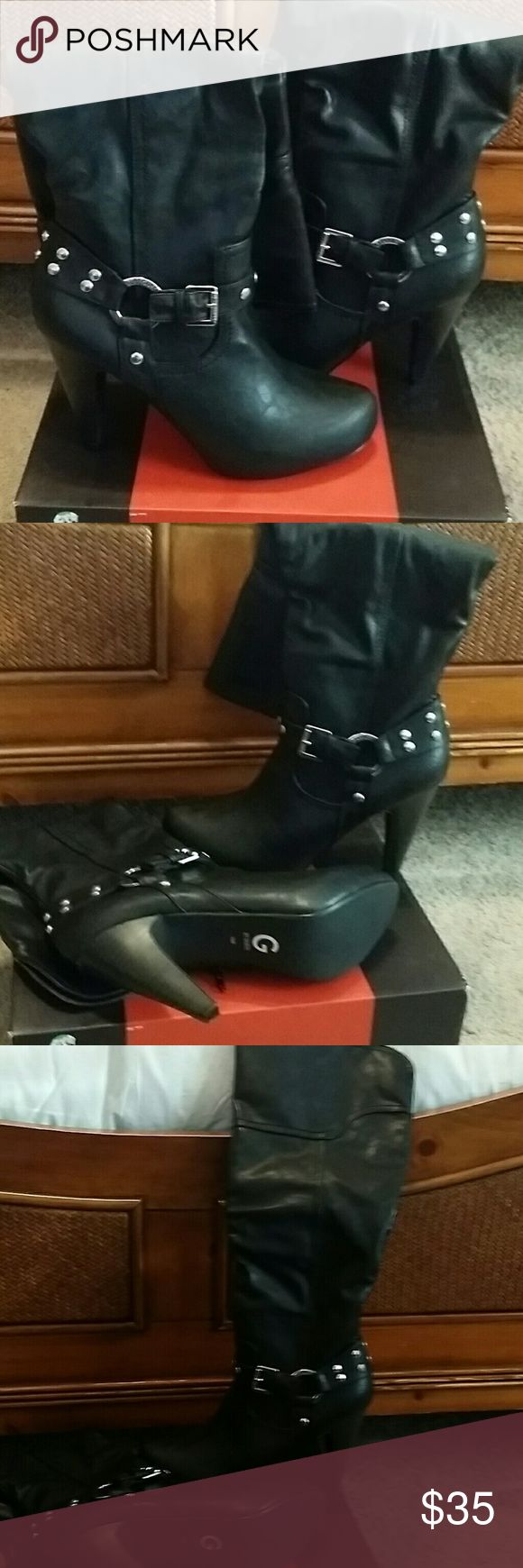 Guess Boots Tall black boots with studded detail NWOT Guess Shoes Heeled Boots
