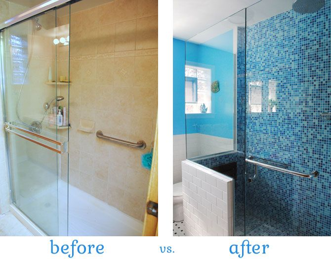 The Art Gallery Shower before and after Modwalls tile Brio Cool Pool blend by gum by